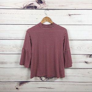Billabong dusty pink stripe too w/ belle sleeve M